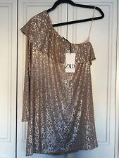 Zara Sequinned Asymmetric Ruffled Hem Dress Medium BNWT