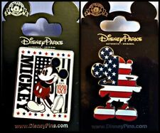 Disney Parks 2 Pin Lot USA Mickey Mouse flag full body + EST 1928 Americana