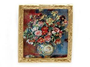Dolls House Renoir Flowers Picture Painting Gold Frame Miniature 1:12 Accessory