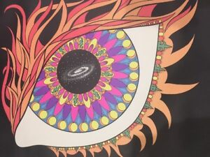 Andromeda Mandala Blacklight Vintage Poster  Original Psychedelic Eye Eyeball