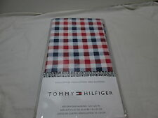 New Tommy Hilfiger Set of Four Dinner Napkins 20x20 ~ Red, White, Blue Plaid NIP