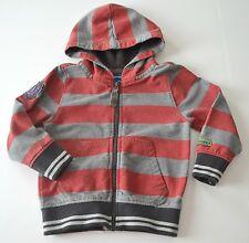Boys NAARTJIE Sz XS 3y Red Gray Striped Hoodie Jacket