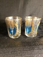 Set of 2 mid century Gold and Teal Shot Glasses  / Eames Era/ Mad Men  Culver?