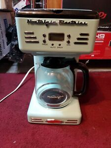 Nostalgia Coffee Maker Pause/Serve Function Keep Warm Programmable Blue (12-Cup)