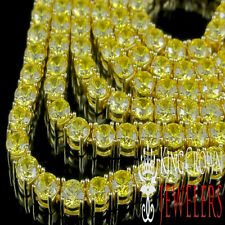 MENS CANARY  14K YELLOW GOLD FINISH LAB DIAMOND 1 ROW TENNIS NECKLACE CHAIN 30''