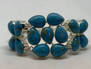 """Created Turquoise Silver Plated Alloy Toggle Bracelet 7-8"""" Size Adjustable India"""