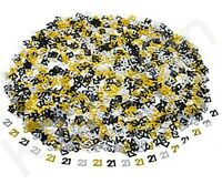 Black Gold & Silver 21st Birthday Party Table Confetti Decorations Age Sprinkles