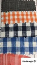 100% Linen Dark Navy / Orange / Blue White Gingham Plaid Linen Fabric