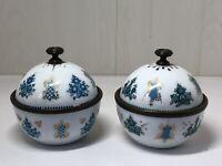 Vintage Arta Austria Pair Of Enamelled Lidded Trinket Pots Dishes