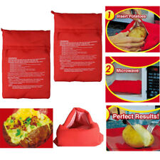 Potato Express Microwave Baked Potato Cooking Cooker Washable Bag Useful Bag Red