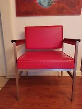 Mid Century Modern Industrial Red Vinyl Aluminum Wood Arm Rest Chair