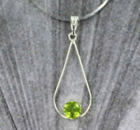 6mm Peridot Gemstone Pendant Necklace Sterling Silver with Chain