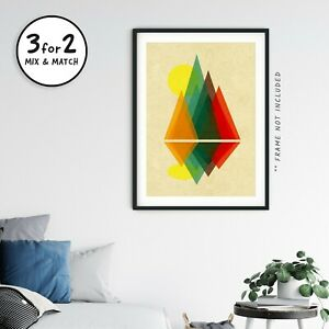 Bauhaus Style Landscape Wall Art, Abstract Sunset Mountain Giclee Quality Poster