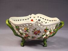 Dresden Reticulated Flower-Encrusted Footed Bowl Germany Carl Thieme