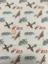Planes Trains Automobiles Blue Green 100% Cotton Quilting Craft Fabric