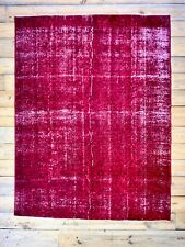 "9'7"" x 7'4"" Vintage Hand Knotted Overdyed Red Turkish Wool Area Rug"
