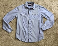 TWENTY ONE Mens Size Small Blue White Striped Snap Up Long Sleeve Fitted Shirt