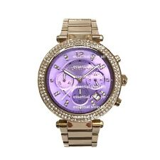 Michael Kors Parker Midsize Purple Dial Rose Gold Chronograph Watch MK6169