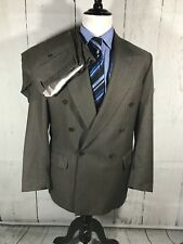 Zanella Men's Double Breasted Suit Men's 40R 32 x 28 Pleated Pants Brown Wool