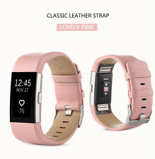 Sport Genuine Leather Watch Band Strap Wrist Band Bracelet For Fitbit Charge2 UK