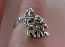 size 6.5-7.5 Adjustable Sterling Silver Medical Caduceus with RN Nurse Ring