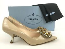 47bc6bf41a05 PRADA Beaded Badge Curve Heel Nude Patent Leather Pointy Toe Pump 37.5  7.5