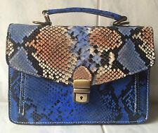ebarrito Handtasche echt Leder Handarbeit Schlangenoptik Krokomuster bunt Luxus