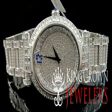 MENS ICED OUT 14K WHITE GOLD FINISH LAB DIAMOND BLING MASTER SWISS CUSTOM WATCH
