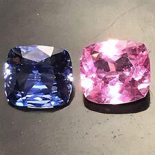 Natural 3.98 Carat Pink & Blue Sapphires 2 Pcs. Cushion Genuine Loose Gemstones