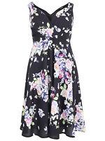 Yours ladies dress plus size 16-28 black floral tie waist V neck cotton occasion