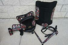 """12"""" 13"""" Western Kids Trail Synthetic Saddle 6p Black Multi Floral Girth Pad Hsbp"""