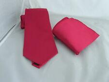 "Dark Raspberry Polyester Necktie & Hankie Set-Mens Classic Ties 3.5"" = 9cm Width"