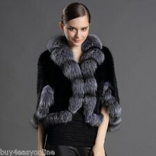 100% Real Black Knitted Mink Fur Silver Fox Collar Cape Stole Shawl Scarf Coat
