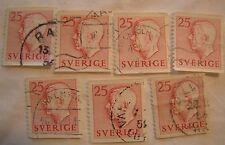 Sweden Stamp 1952 Scott 436 A97  Definitive 25 Set of 7