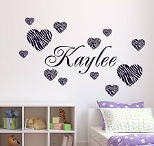Zebra Pattern Hearts Wall Decal 12 & Personalized Name & Vinyl Stickers Decor