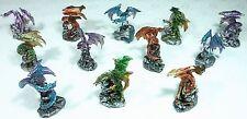 Set of 12 Assorted Dragon Miniatures 9319844524209 NEW Purple Green Bronze Aqua