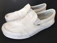 VANS White Slip On Classic Canvas Shoes Sneakers Women's 8.5 Men's Size 7