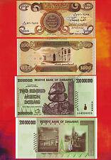 1 x 1000 Iraq Dinar Banknotes UNC + 1 x 200 Million Zimbabwe Dollars AA 2008 Set
