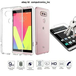 Clear TPU Gel Case Cover & Tempered Glass Screen Protector for LG V20 & LG V10