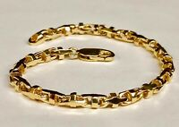 14k Solid Yellow Gold Anchor Mariner Bullet Link Bracelet 4 MM 14 grams 8""