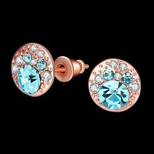 NEW ARRIVAL ROSE GOLD PLATED TURQUOISE CRYSTAL STUD EARRING - SIZE:0.9CM X 0.5CM
