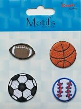 4 x Sports Balls Iron or Sew on Motif Patch Child or adult Embellishment