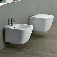 Coppia sanitari sospesi arredo bagno moderno nuovo design wc con coprivaso bidet