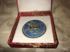 Vintage Chinese Galloping Horse Enamel Coin or Medallion in Original Box