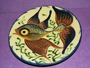"Vintage Spanish Puigdemont Studio Art Pottery Majolica  9.5"" Angel Fish Plate"