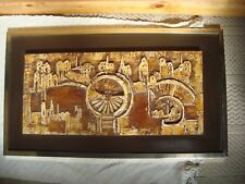 Vintage Cyril Barns Signed Abstract Low Relief Work Panel Cityscape Retro 1970s