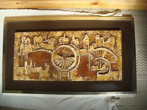 Vintage Cyril Barnes Signed Abstract Low Relief Work Panel Cityscape Retro 1970s