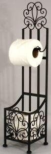 Black Metal Ornamental Toilet Paper Holder Storage Scroll Design Stand Basket UK