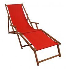 Transat pour Jardin Bois Lit Soleil Rouge Chaise Longue Massif M Partie de Pied