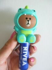 Line friends dino brown charm holder NIVEA lip balm stick keychain Limited Edt